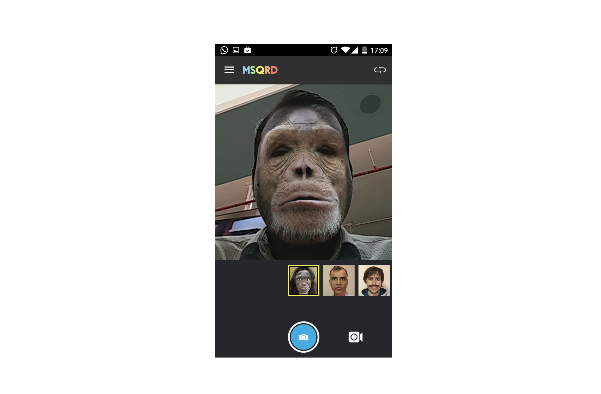 MSQRD allows users to apply funny face filters over their regular selfies