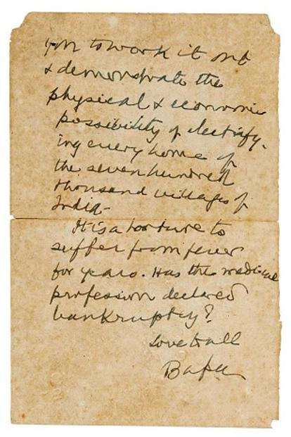 A letter by Gandhi. Photo: Sotheby's