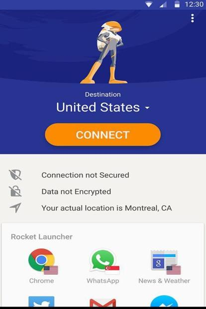 Rocket VPN comes with 250 MB of data every month.