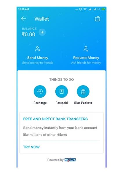 The API and other backend support for UPI payment in Hike is being provided by Yes Bank.