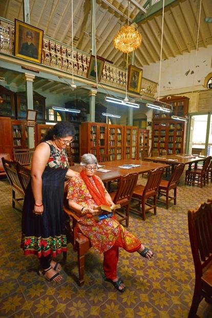 Katy Antia, chairperson of the library's board of trustees (right), with Parinaz Gheewala, administrator. Photo: Abhijit Bhatlekar/Mint