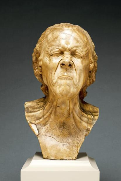 'The Vexed Man' head carved in alabaster by Franz Xaver Messerschmidt, on display at the Belvedere in Vienna, Austria. Photo: Alamy