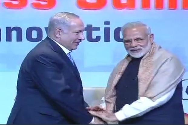 Israel PM Benjamin Netanyahu and PM Narendra Modi at the CEO meet in Delhi today. Photo: ANI/Twitter