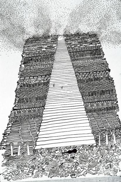 A drawing from the series 'The Heights Of Macchu Picchu'. Photo: Vivan Sundaram and KNMA