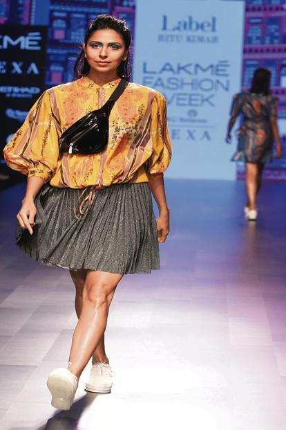 A fanny pack runway look from Label Ritu Kumar at the Lakmé Fashion Week Summer Resort 2018.