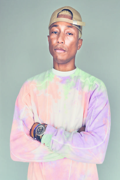 Pharrell Williams in a sweatshirt from Adidas's Holi collection.