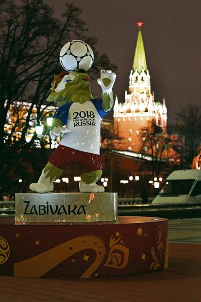 A statue of the official 2018 Fifa World Cup mascot Zabivaka the wolf, installed at Moscow's. Photo: AFP