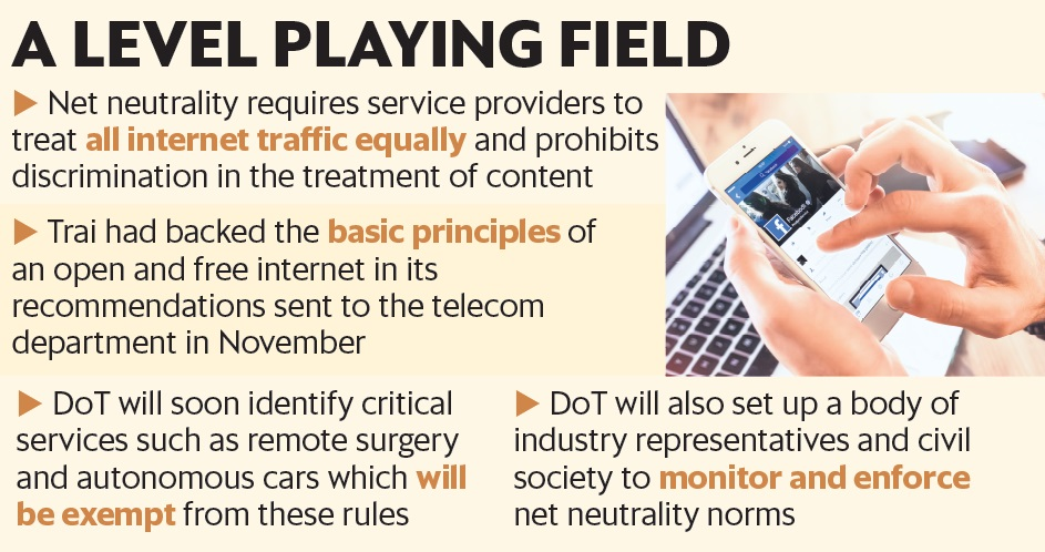 DoT accepts Trai's net neutrality rules