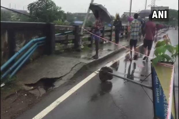 A bridge damaged by flood waters in Kochi. Photo: ANI