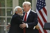 Prime Minister Narendra Modi (left) with US President Donald Trump during their joint statement at the Rose Garden of the White House on Monday. Photo: Mint