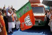 BJP president Amit Shah flagged off the Gujarat Gaurav Yatra from Karamsad town of Anand district on Sunday. Photo: PTI