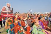 A BJP rally in Kalol, 30km from Ahmedabad. Political mismanagement of the Patel agitation has fuelled anger in a community that's traditionally voted for the BJP in Gujarat elections. Photo: Abhijit Bhatlekar/Mint