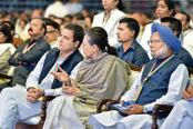 (From left) Congress chief Rahul Gandhi with former party president Sonia Gandhi and ex-prime minister Manmohan Singh at the Congress's plenary session in New Delhi on Sunday.