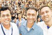 Flipkart CEO Kalyan Krishnamurthy (centre) flanked by founders Sachin Bansal (left) and Binny Bansal. Flipkart board members believed Krishnamurthy had earned the right to continue as boss. Walmart wanted at least one founder onboard.