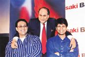 A file photo of Bajaj Group chairman Rahul Bajaj (centre) with sons Bajaj Auto's Rajiv Bajaj (right) and Bajaj Finserv's Sanjiv Bajaj. Bajaj Group became the fourth largest in the country, with a combined market value of ₹3.8 trillion in 2018.