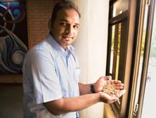 Show time: Ferox Food's Bhishm Narayan Singh with flakes of Makhana, a cereal crop grown in huge quantities in Bihar that the firm plans to merket as a healthier option to breakfast cereals available