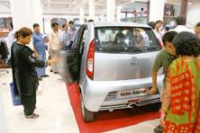 Beyond class: A Tata Nano on display at a Westside store in Mumbai. It is largely people from the upper middle class and higher economic strata who have been showing interest in the car. Ashesh Shah /