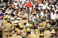 Industrial strife: A file picture of employees union members protesting against the Rico management in Gurgaon amid heavy police presence. Praveen Kumar / HT