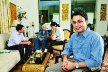 At home with 'nani': Eldercare specialists with Epoch customer S.M. Khanduri and Epoch founder Kabir Chadha (foreground). Photo by Priyanka Parashar/Mint.