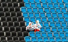Many seats remained empty before an equestrian event at Greenwich Park on 31 July. Photo: AP