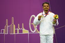 India's Vijay Kumar wins silver medal in the men's 50m Rifle Prone Shooting final. Photo: Lars Baron/Getty Images