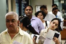A file photo of people at the US embassy in New Delhi. Photo: Manish Swarup/AP