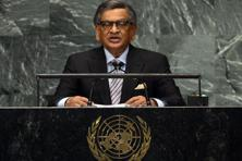 Foreign minister S M Krishna speaks during the 67th session of the UNGA at the United Nations in New York . Photo: AFP
