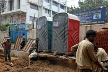 A file photo of portable toilet for labour in Karnataka. Photo: Hemant Mishra/Mint