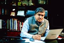 Nilekani at his office in Jeevan Bharti Building, Connaught Place, New Delhi. Photo: Pradeep Gaur/Mint