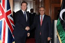 British Prime Minister David Cameron (left) and Libyan Prime Minister Ali Zaidan in Tripoli, Libya, on Thursday. Photo: AFP