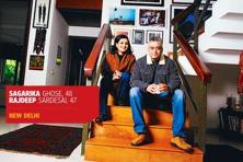Rajdeep Sardesai and Sagarika Ghose at their home in Panchsheel Park, Delhi. Photo: Priyanka Parashar/Mint.
