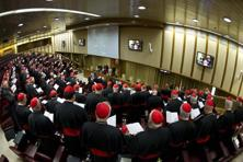 Cardinals attend a meeting at the Synod Hall in the Vatican on Monday. Photo: Osservatore Romano/ Reuters/