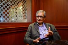 Nobel laureate Amartya Sen speaking on his book 'An uncertain Glory' at Taj Mansingh on 23 July 2013. Photo: Ramesh Pathania/Mint