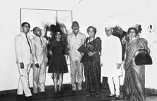 At the M.F. Husain retrospective at Gallery Chemould in March, 1969. Kekoo Gandhy (extreme left), Husain (at the centre) and Khorshed Gandhy (extreme right). Photo courtesy: Gallery Chemould