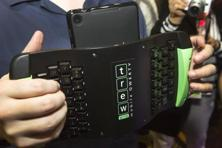 A TREWGrip keyboard is shown during the electronics show. The keyboard keys face away from the user but allows people to type and enter data into a tablet while standing up. CES runs from 7-10 January in Las Vegas, Nevada. Reuters