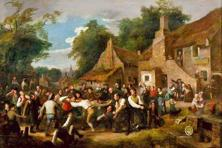 This painting of a game being played in a Scottish village in 1830 is one of the earliest pictorial depictions of football. Photo: Wikimedia Commons
