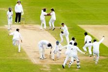 England's James Anderson looks down as Sri Lanka win the second Test on Tuesday. Photo: Philip Brown/Reuters