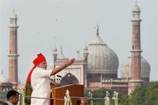 Prime Minister Narendra Modi addresses the nation from Red Fort on the 68th Independence Day in New Delhi on Friday. Photo: PTI