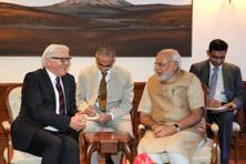 German foreign minister Frank Walter Steinmeier (left) meets Prime Minister Narendra Modi (2nd right) in New Delhi. Photo: AFP/PIB