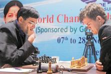 A file photo from a game between Viswanathan Anand (left) and Magnus Carlsen last year in Chennai. Photo: Sai Sen/Mint