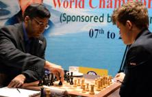 A file photo of Viswanathan Anand and Magnus Carlsen during their fifth match at FIDE World Chess Championship in Chennai in 2013. Photo: Mint