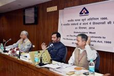 In a consultation meeting with stakeholders on amendments to the BIS Act 1986, consumer affairs minister Ram Vilas Paswan (centre) on Monday expressed concern over quality of gold jewellery. Photo: PTI