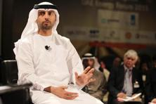 UAE energy minister Suhail bin Mohammed al-Mazroui at the Gulf Intelligence UAE energy forum in Abu Dhabi on Tuesday. Photo: AFP