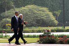 US President Barack Obama (left) with Prime Minister Narendra Modi at Hyderabad House in New Delhi on Sunday. Photo: PTI