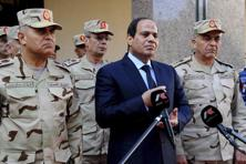 President Abdel Fattah al-Sisi (centre), who as army chief toppled Mursi, describes the Brotherhood as a major security threat. Photo: Reuters