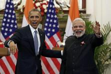 A file photo of US President Barack Obama and Prime Minister Narendra Modi (right) at Hyderabad House in New Delhi on 25 January. Photo: Reuters