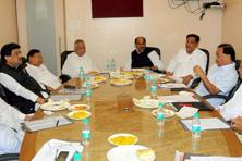 Congress party members at a meeting in Mumbai on Saturday. Photo: PTI