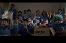 A screen grab from Amazon's TV commercial. The 'aur dikhao' (Show me more) campaign features various situations involving absolutely ordinary-looking Indians in different situations, where they want more choices.