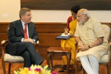 Prime Minister Narendra Modi with International Olympic Committee president Thomas Bach during a meeting in New Delhi on Monday. Photo: PTI