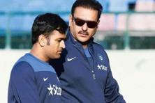 Ravi Shastri with M.S. Dhoni in October 2014. Photo: Keshav Singh/Hindustan Times